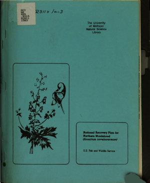Recovery Plan for Northern Monkshood  Aconitum Noveboracense  PDF