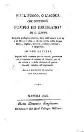 Fu il Fuoco, o l'Acqua che sottero Pompei ed Ercolano?