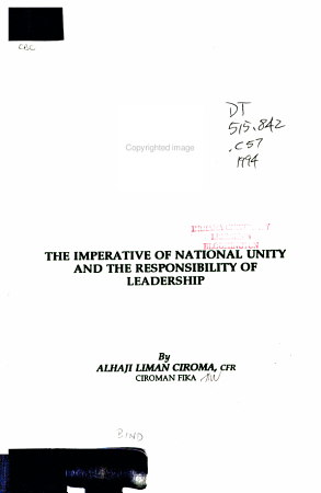 The Imperative of National Unity and the Responsibility of Leadership PDF