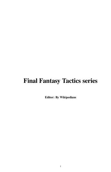 Final Fantasy Tactics Series PDF