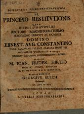 Diss. philos.-¬crit. de principio restitutionis