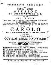 Dissertatio theologica de sensu vocis dikaios et cognatarum in N. T.