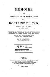 Mémoire sur l'Origine et la Propagation de la Doctrine du Tao, fondée par Lao-Tseu: Suivi de deux Oupanichads des Vedas, avec le texte Sanscrit et Persan