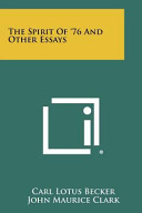 The Spirit of  76 and Other Essays PDF