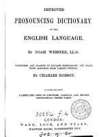 Improved pronouncing dictionary of the English language PDF