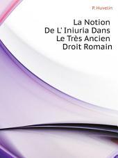 La Notion De L' Iniuria Dans Le Tres Ancien Droit Romain