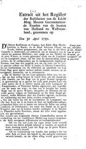 Resolutie: Eenige pointen, betreffende het middel van de grove waaren [...]. 30 april 1750