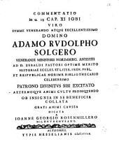 Commentatio in u. 18. Cap. XI. Iobi