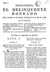 El delincuente honrado: caso sucedido en la ciudad de Segovia en el año de 1738