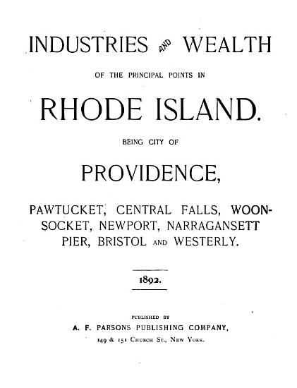 Industries and Wealth of the Principal Points in Rhode Island PDF