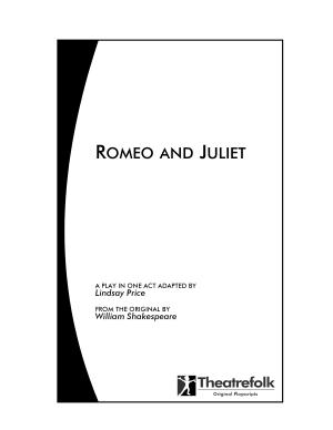 Romeo and Juliet   a Play in One Act