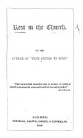 Rest in the Church  By the author of    From Oxford to Rome     i e  Elizabeth F  S  Harris   PDF