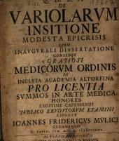 De Variolarvm Insitione Modesta Epicrisis