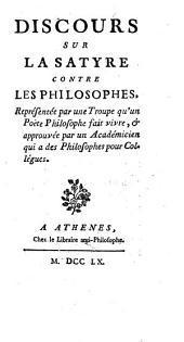 Discours sur la Satyre contre les philosophes