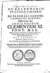 De Kalendario et Cyclo Caesaris ...: dissertationes duae
