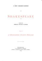 A New Variorum Edition of Shakespeare  A midsommer night s dreame  1895 PDF