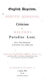 Criticism on Milton's Paradise lost: Issue 8