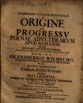 Dissertatio iuridica inauguralis de origine et progressu poenae adulterarum apud Romanos