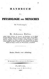 Handbuch der Physiologie des Menschen: für Vorlesungen, Band 2