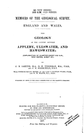 The Geology of the Country Between Appleby, Ullswater, and Haweswater: (Explanation of Quarter-sheet 102 S.W., New Series, Sheet 30)