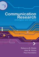 Communication Research  Strategies and Sources PDF