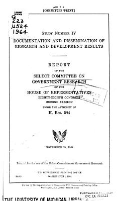 Documentation and Dissemination of Research and Development Results