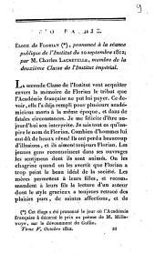 Biographie. Eloge de Florian (*), prononcé à la séance publique de l'Institut du 10 septembre 1812