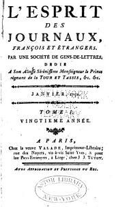 L'Esprit des journaux, françois et étrangers: Numéro1