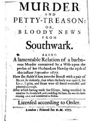 Murder and Petty treason  Or  Bloody News from Southwark PDF