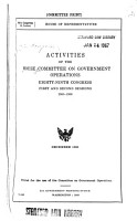 Activities of the House Committee on Government Operations PDF