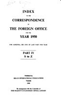 Index to the Correspondence of the Foreign Office for the Year PDF