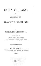 On Universals: An Exposition of Thomistic Doctrine