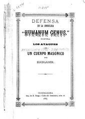 """Defensa de la enciclica """"Humanum genus"""": contra los ataques de un cuerpo masónico de Guadalajara"""