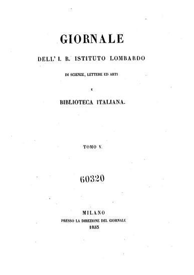 Giornale dell I R  Istituto Lombardo di Scienze  Lettere ed Arti e biblioteca italiana PDF