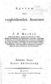 System der vergleichenden Anatomie: Band 2,Teil 1