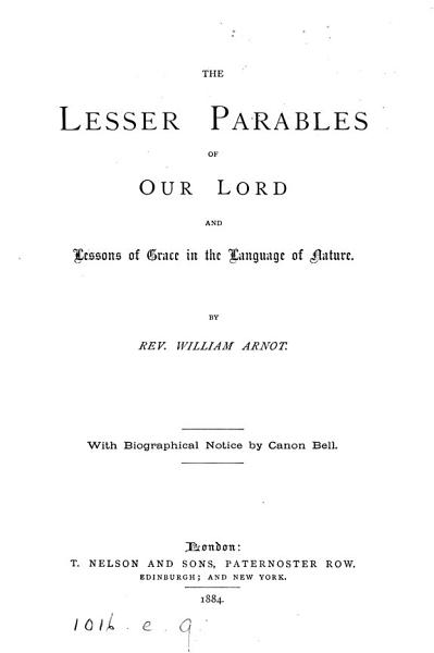 Download The Lesser Parables of Our Lord  and Lessons of Grace in the Language of Nature Book