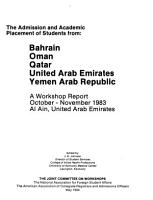 The Admission and Academic Placement of Students from Bahrain  Oman  Qatar  United Arab Emirates  Yemen Arab Republic PDF
