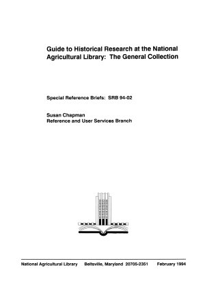 Guide to Historical Research at the National Agriculture Library PDF