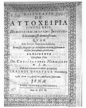 Disputatio de autocheiria singularis, Homicidium sui ipsius Jure civili licitum esse demonstrans