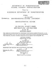 CTH B, West County Line-Lake Mills Road, Jefferson County: Environmental Impact Statement