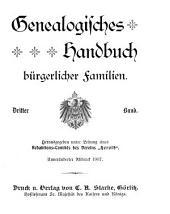 Genealogisches Handbuch bürgerlicher Familien: Band 3