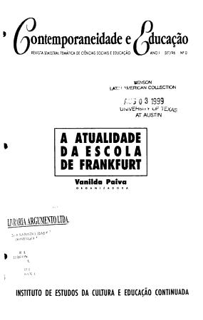 Contemporaneidade e educa    o PDF