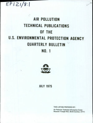 Air Pollution Technical Publications of the U S  Environmental Protection Agency
