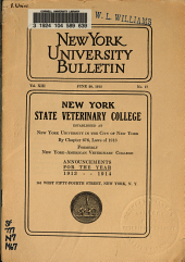 Announcement of the New York State Veterinary College