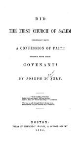 Did the First Church of Salem Originally Have a Confession of Faith Distinct from Their Covenant?