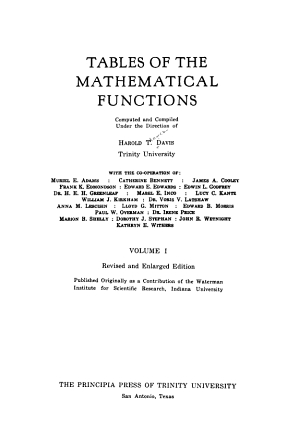 Tables of the Mathematical Functions PDF