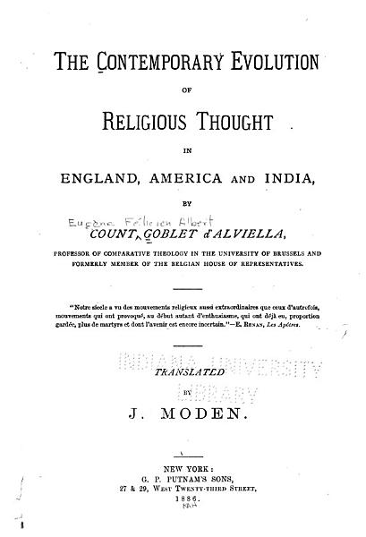 Download The Contemporary Evolution of Religious Thought in England  American and India Book
