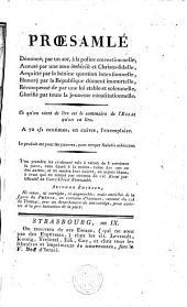 Essai justificatif de Jean F. Proesamlé envoyé au Directeur du Jury de la police correctionnelle de l'arrondissement de Strasbourg