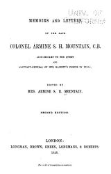 Memoirs and Letters of the Late Colonel Armine S H  Mountain  C  B  PDF