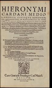 Commentarii in Hippocratis de Aere, Aquis et Locis ... Opus